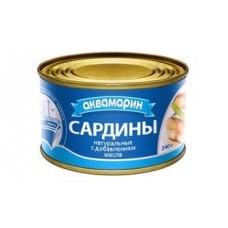 Консерва  Аквамарин  Сардины натуральные с доб. масла - 240г (ж/б)