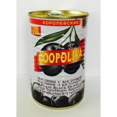 Маслины  Coopoliva  Королевские С Косточкой (размер XXL) - 405г (ж/б)